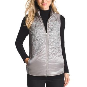 Chico's Embroidered Quilted Silver Vest NWT Size L